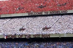 "10 days after 9/11, five Aggie students organized ""Red White and Blue out"" for the OU game as opposed to the normal ""Maroon Out"" at our games. 85,000+ shirts were sold in this short time.  Rumor has it that there was a shortage of red shirts from here to Nebraska! These 5 Aggies raised a lot of money for NYPD and FDNY with just a simple idea. Gig'em Aggies!"