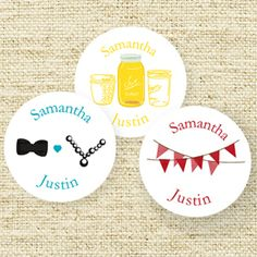 Wedding Icon Personalized Round Labels - 40 pieces