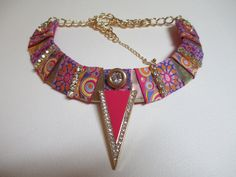 Bib Collar Statement Necklace Pink Orange Gold Tone by audreymivey, $45.00