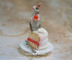 Miniature Mouse on Cake - Polymer Clay Sculpture by Daniela Messina