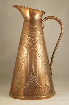 Antique Joseph Sankey Art Nouveau Copper Skinny Jug -