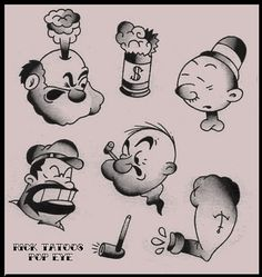RICK TATTOO: POPEYE Mexican Skull Tattoos, Mexican Skulls, Popeye Tattoo, Ricks Tattoo, Le Tattoo, Tattoo Flash Sheet, Some Fun, Old School, Art Reference