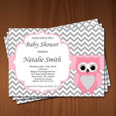 This is editable digital files - printable owl girl baby shower invitation and thank you card red gray. Owl baby shower invitation Girl and thank Baby Shower Niño, Cheap Baby Shower, Shower Bebe, Baby Shower Invites For Girl, Baby Shower Cards, Baby Shower Themes, Baby Boy Shower, Shower Ideas, Shower Party