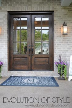 Stained double front doors