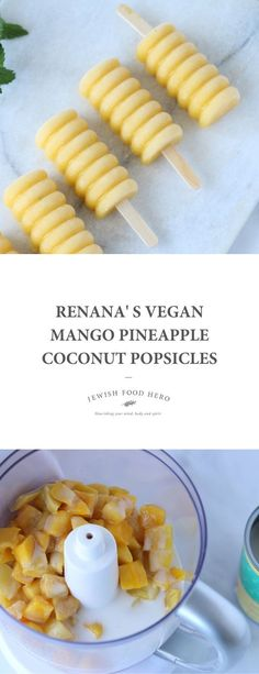 Vegan Mango Pineapple Coconut Popsicles. These bright and light summer treats are made from a handful of simple, plant-based ingredients. It is impossible to get this recipe wrong! Frozen Desserts, Frozen Treats, Vegan Desserts, Vegan Recipes, Coconut Popsicles, Healthy Popsicles, Tasty Ice Cream, Spiced Rice, Vegan Casserole