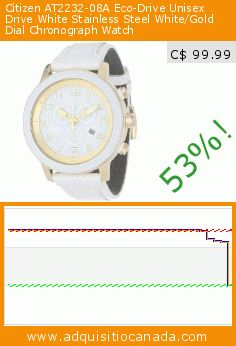Citizen AT2232-08A Eco-Drive Unisex Drive White Stainless Steel White/Gold Dial Chronograph Watch (Watch). Drop 53%! Current price C$ 99.99, the previous price was C$ 210.85. https://www.adquisitiocanada.com/citizen/at2232-08a-eco-drive