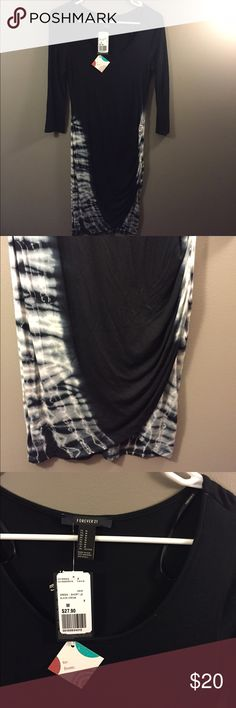 🆕 Forever 21 Black White Tie Dye Stretch Dress M Brand new with tags! Thank you for looking! Forever 21 Dresses Long Sleeve
