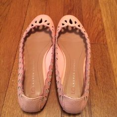 Lauren Conrad flats Lauren Conrad Collection light pink flats. Eyelet cutouts along the trim. Very comfy. Perfect for spring and summer. Good condition Lauren Conrad Shoes Flats & Loafers