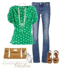 """green dots"" by stacy-gustin ❤ liked on Polyvore featuring Dondup, Dorothy Perkins, Dolce&Gabbana, Juicy Couture, Kate Spade, Stella & Dot, TALLY WEiJL, platform heels, polka dots and long pendant necklaces"