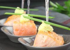 Bouchées de saumon rose et son beurre au wasabi
