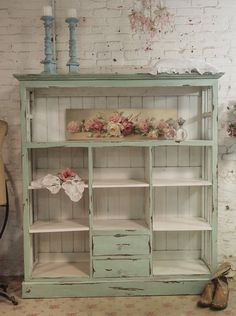 Painted Cottage Chic Shabby Chateau Farmhouse by paintedcottages. This looks just like the bookcase in the dining room! Should I convert it to this shabby cottage look? Shabby Chic Mode, Shabby Chic Bedrooms, Shabby Chic Kitchen, Shabby Chic Style, Shabby Chic Decor, Rustic Decor, Farmhouse Decor, Small Bedrooms, Guest Bedrooms