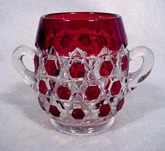 Ruby Stained Red Block Spooner. Made by Doyle - My grandfather used to collect this type of glass and I inherited some of his collection. I'd love to have this spooner.