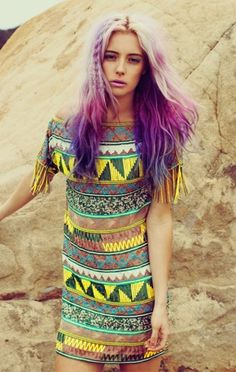 purple hair tribal dress