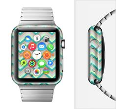 The Vintage Subtle Greens Chevron Pattern Full-Body Skin Set for the Apple Watch