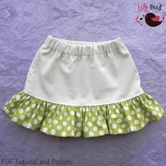All day skirt - 12 months to 8 years - PDF Pattern and Instructions - perfect for little girls - w/back pockets and ruffles - easy sew. $5.90, via Etsy.