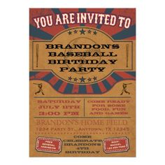 Vintage Baseball Baby Shower Invitations are a cute choice for a boy's summer baby shower. Design features old-fashioned baseball graphics. Football Baby Shower Invitations, Baseball Birthday Invitations, Baseball Birthday Party, Custom Baby Shower Invitations, Party Invitations, Party Favors, Sports Birthday, Invites, 17 Birthday