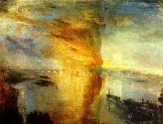 L'incendio delle Camere dei Lord e dei Comuni, William Turner, 1835. Olio su tela, 92,5×123 cm. Cleveland Museum of Art, Cleveland