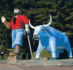 Take a trip north of the San Francisco Bay Area: see Avenue of the Giants, Fern Canyon, Prairie Creek Redwoods State Park, Del Norte State Park, and Trees of Mystery. Photo:  Giant Paul Bunyan with blue ox Babe at Trees of Mystery, Klamath, Calif.