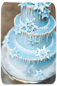 Blue Snowflake and Icicle Cake