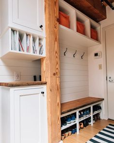 Mudroom laundry room - 15 Incredible Mudroom Organization Ideas For Simple Storage – Mudroom laundry room Mudroom Laundry Room, Laundry Shelves, Shoe Shelves, Floating Shelves, Mud Room In Garage, Wall Shelves, Mud Room Lockers, Garage Entryway, Mudroom Cubbies