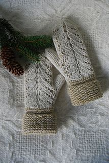 Ravelry: capucino's Olivegreen mittens with white lace