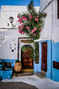 Bright blue in Rabat, Morocco by Salvatore Mazzeo. I dont mean that the pic is wrong i just mean that Rabat i a terrible city for backpackers. Oh The Places You'll Go, Places To Travel, Travel Destinations, Beautiful World, Beautiful Places, Voyager C'est Vivre, Moroccan Style, Moroccan Blue, Marrakech