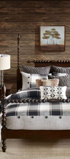 Madison Park Urban Bedding: Bring a touch of farmhouse style into your bedroom with this Urban Cabin plaid comforter set by Madison Park. #farmhousebedding #farmhousebedroom #farmhouse #rusticbedding #bedding #bedroomideas Western Bedding, Rustic Bedding, Bedroom Linens, Urban Bedding, Farmhouse Bedding Sets, Plaid Comforter, Ranch Decor, Bed Styling, White Decor