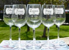 Bridal Party Gift - Bridesmaid Gift - Bridesmaid Wine Glasses - Custom Engraved Wine Glasses by LetsTieTheKnot, $14.95 each www.etsy.com/shop/letstietheknot