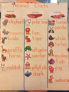 Learning what animals are herbivores, carnivores, and omnivores. Students helped to create this anchor chart.