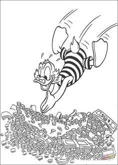 Scrooge swims in money coloring pages for kids, printable free Cartoon Coloring Pages, Disney Coloring Pages, Coloring Book Pages, Disney Pop Art, Coloring Sheets For Kids, Adult Coloring, Dagobert Duck, Disney Bedrooms, Uncle Scrooge