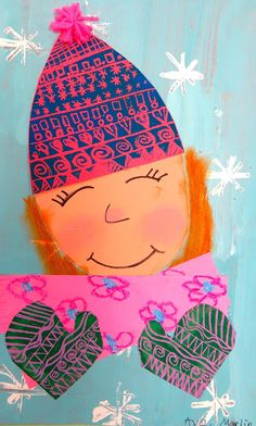 Cassie Stephens: In the Art Room: Printed and Collaged Winter Self Portraits by…