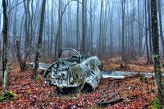 This Lockheed training plane was found in New Jersey woods. The jet crashed in 1962 and has remained there ever since. Abandoned Cars, Abandoned Places, Abandoned Vehicles, Haunted Places, Abandoned Buildings, New Jersey, West Milford, Forest Scenery, Space Exploration