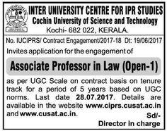 Inter University Centre For IPR Studies invited application for Associate Professor in Law