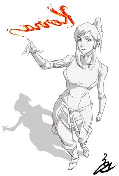 """as-warm-as-choco: Avatar Korra illustration by Studio MIR director Sung Hoon Kim (김성훈)!From back in July 8th, 2014 ! Writing her name with fire… """"Legend of Korra Book 3 is back with 2 new episodesstarting this Friday at 8PM on Nick!!! Stay tuned!"""" (X)"""
