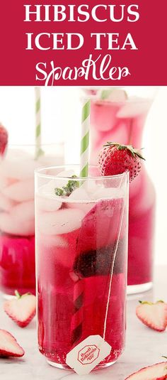 Hibiscus Iced Tea Sparkler is a very refreshing and delicious spring or summer-drink made with hibiscus tea and sparkling water. Make it this Mother's Day for your Mom because she is DA Bomb!
