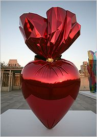 Jeff Koons - Sacred Heart (Red/Gold)  High chromium stainless steel with transparent color coating  356.9 x 218.4 x 120.9 cm