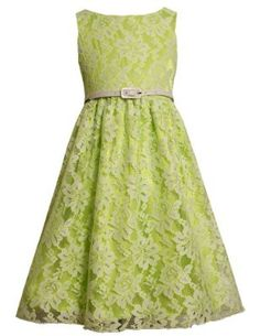 Bonnie Jean Tween Girls 7-16 Lime-Green and White Belted Lace Overlay Dress