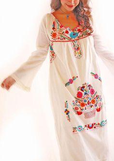 Belen vintage Mexican long bell sleeve maxi dress crochet natural cotton