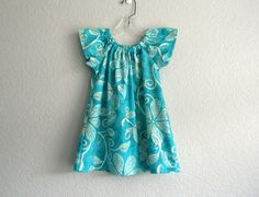Girls Turquoise Dress  Turquoise and White Flutter by dreambirds, $31.00