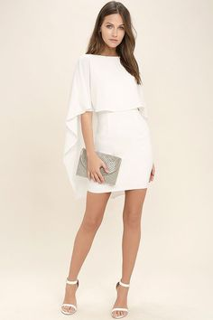 Things are looking up with items like the Best is Yet to Come White Backless Dress making their way into your wardrobe! A unique, backless silhouette is created by woven poly fabric that drapes into a front tier, and cape sleeves that trail alongside the Elegant Dresses, Sexy Dresses, Dress Outfits, Nice Dresses, Casual Dresses, Short Dresses, Fashion Dresses, Backless Dresses, Short White Party Dresses