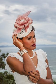 Julie Casey Millinery - Lace Beret with dusty pink silk abaca trim