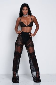 Black Athena Lace Pants