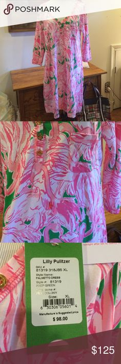 Lilly Pulitzer palmetto dress in Pink Colony xl Lilly Pulitzer palmetto dress in Pink Colony.  Beautiful NWT Palmetto dress is Pink Colony.  Cotton dress that is super comfortable to wear. Bright fun print. Lilly Pulitzer Dresses Mini