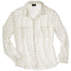 Mossimo® Petites Long-Sleeve Blouse - Cream/Gold
