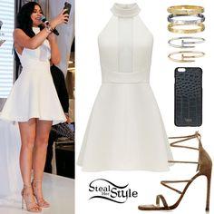 Kylie Jenner White Skater Dress, Strappy Sandals