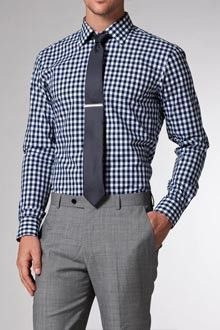 Clothes, Shoes & Accessories Contemplative Steven Land Trim Fit Blue Check Cutaway Collar French Cuff Cotton Dress Shirt Formal Shirts