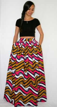 African Print Maxi Skirt with pockets by MelangeMode on Etsy So cute unique! African Attire, African Wear, African Dress, African Inspired Fashion, African Print Fashion, African Prints, African Print Skirt, African Fabric, Skirts With Pockets