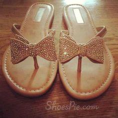 amazing Gorgeous White Coppy Leather Amazing Rhinestone Bowtie Flat Heel Sandals