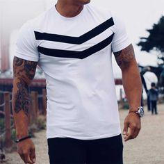 Sport T Shirt, Striped Tee, Cotton Shorts, Look Cool, Mens Tees, Shirt Men, Shirt Sleeves, Men's Fashion, Fashion Lookbook