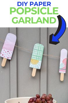 Cricut Paper Popsicle Garland (with SVG) Disney Planning, Disney Tips, Summer Party Themes, Clear Glue, Throw A Party, Disney Crafts, Coordinating Colors, Summer Diy, Paper Decorations